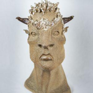 Minotaure Sculpture Juan José Ruiz dit CACO Grès noir cuisson Four à Bois H41cm larg 22cm Prof 18,5cm.jpg