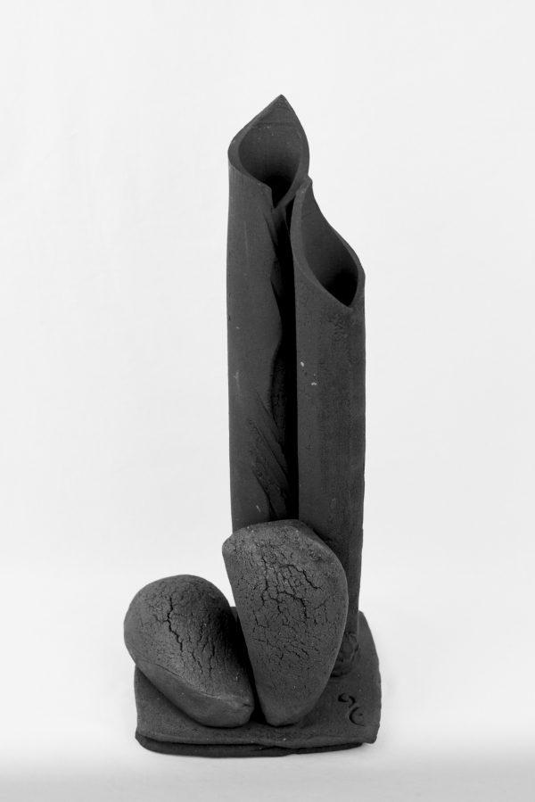 Vase 2 Sylvie Ruiz Foucher African Stone cuisson Four à Bois H46,5cm larg19cm Prof15cm